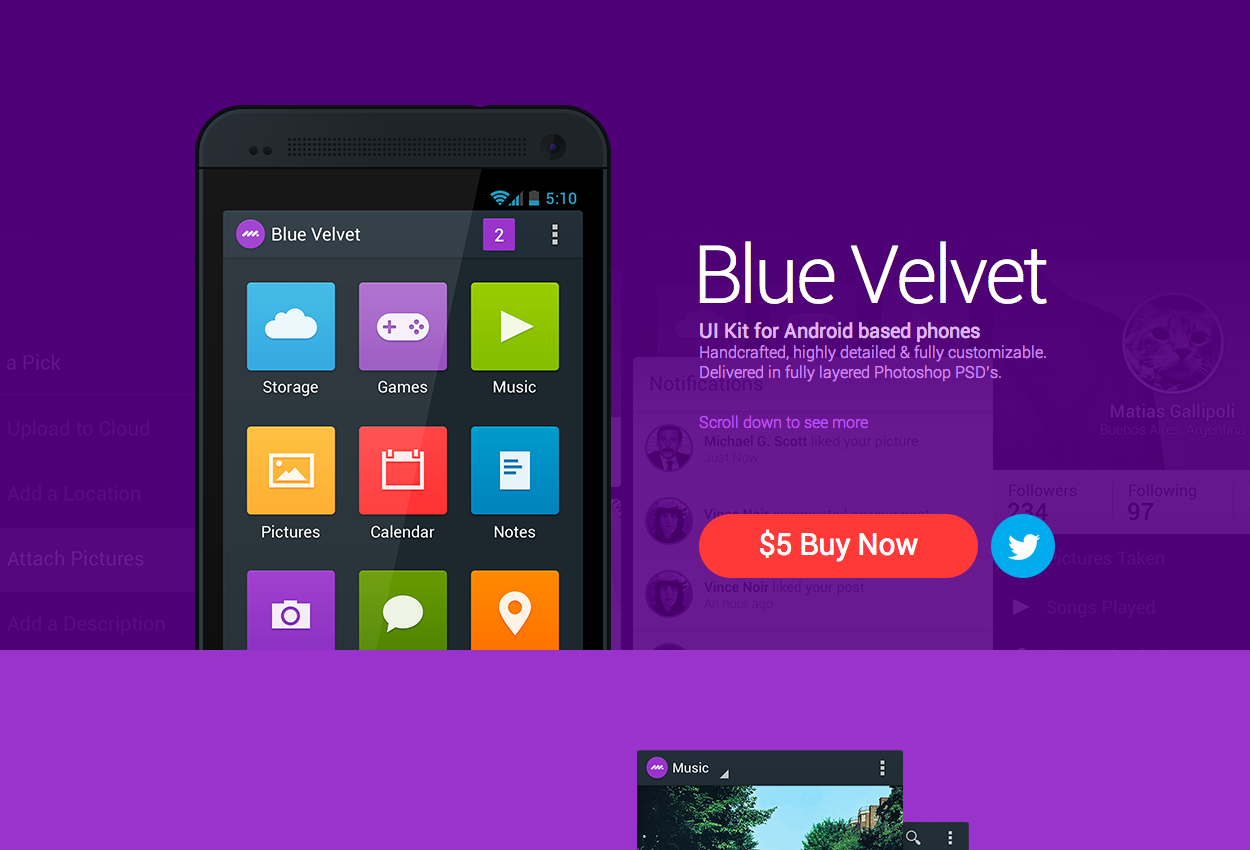 Blue Velvet – Android UI Kit