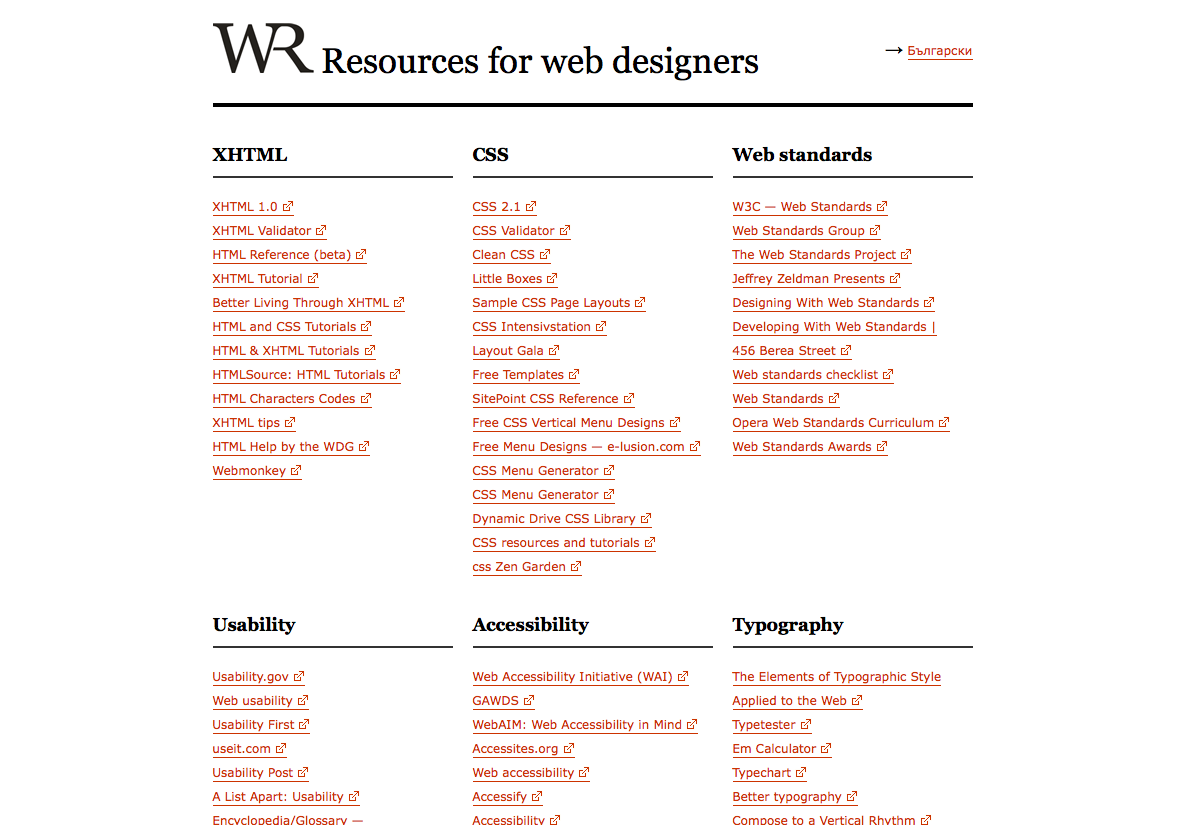 Resources for web designers